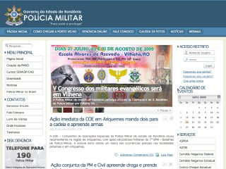 Thumbnail do site Polícia Militar do Estado de Rondônia