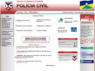 Thumbnail do site Polícia Civil do Estado de Rondônia