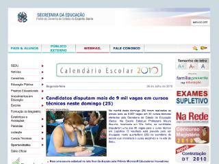 Thumbnail do site Secretaria de Estado da Educação do Espírito Santo