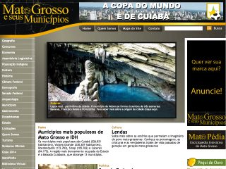 Thumbnail do site Mato Grosso e seus municipios