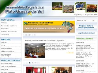 Thumbnail do site Assembléia Legislativa do Estado do Mato Grosso do Sul