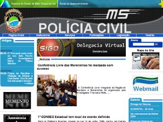 Thumbnail do site Policia Civil de Mato Grosso do Sul