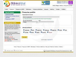 Thumbnail do site Biblioteca Virtual do Rio Grande do Sul