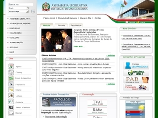 Thumbnail do site Assembléia Legislativa do Estado de Santa Catarina